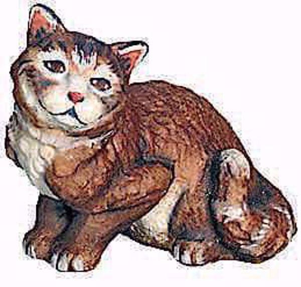 Imagen de Gato sentado cm 10 (3,9 inch) Belén Raffaello estilo clásico colores al óleo en madera Val Gardena