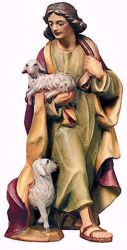 Picture of Shepherd with Sheep cm 10 (3,9 inch) Raffaello Nativity Scene traditional style oil colours Val Gardena wood