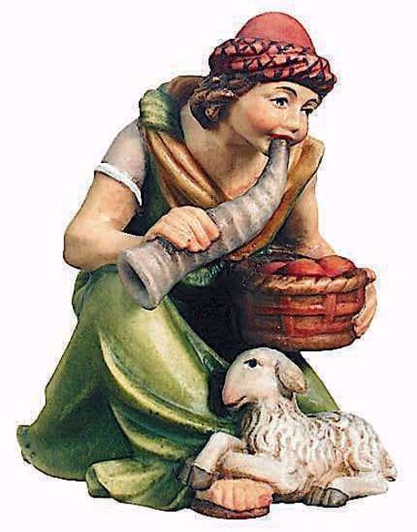 Picture of Kneeling Shepherd with Basket cm 10 (3,9 inch) Raffaello Nativity Scene traditional style oil colours Val Gardena wood
