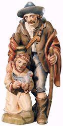 Picture of Shepherd with Boy cm 10 (3,9 inch) Raffaello Nativity Scene traditional style oil colours Val Gardena wood
