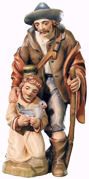 Imagen de Pastor con Niño cm 10 (3,9 inch) Belén Raffaello estilo clásico colores al óleo en madera Val Gardena