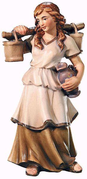 Immagine di Pastorella con Brocche d'acqua cm 10 (3,9 inch) Presepe Raffaello stile classico colori ad olio in legno Val Gardena