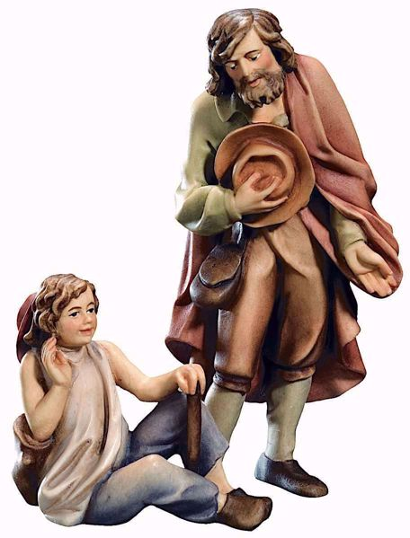 Picture of Shepherd with Boy cm 10 (3,9 inch) Raffaello Nativity Scene traditional style oil colours Val Gardena wood