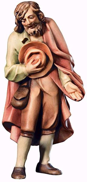 Picture of Shepherd with Hat cm 10 (3,9 inch) Raffaello Nativity Scene traditional style oil colours Val Gardena wood