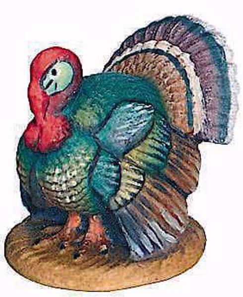 Imagen de Pavo cm 13 (5,1 inch) Belén Raffaello estilo clásico colores al óleo en madera Val Gardena