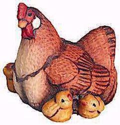 Picture of Hen with Chicks cm 13 (5,1 inch) Raffaello Nativity Scene traditional style oil colours Val Gardena wood