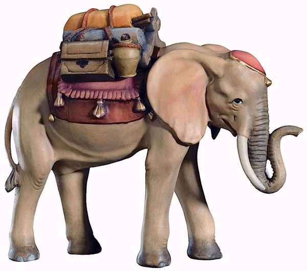 Immagine di Elefante con Sella cm 13 (5,1 inch) Presepe Raffaello stile classico colori ad olio in legno Val Gardena