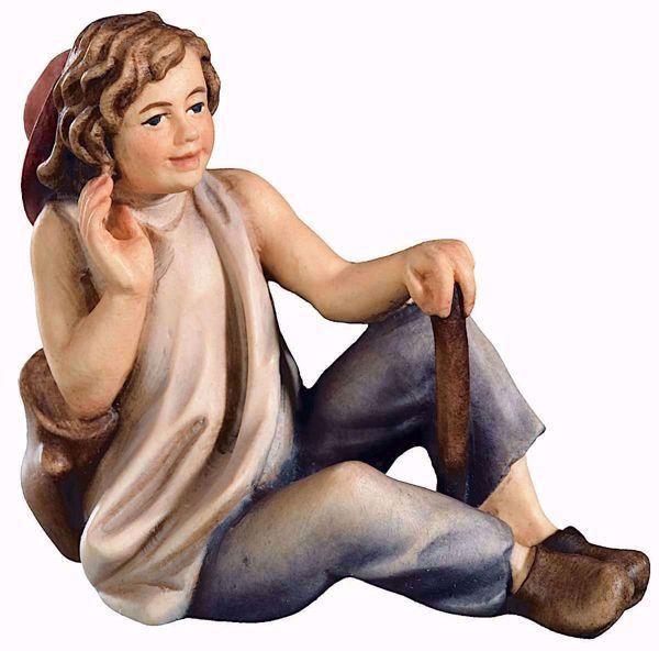 Immagine di Giovane Pastore cm 13 (5,1 inch) Presepe Raffaello stile classico colori ad olio in legno Val Gardena