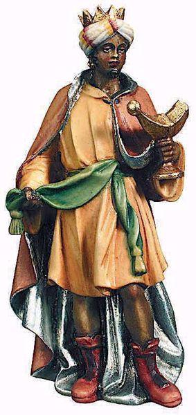 Immagine di Baldassarre Re Magio Moro cm 13 (5,1 inch) Presepe Raffaello stile classico colori ad olio in legno Val Gardena