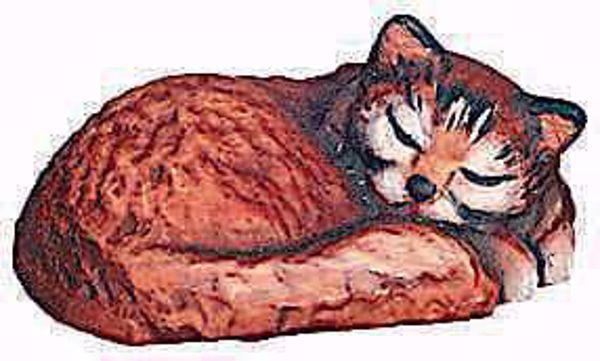 Imagen de Gato durmiente cm 12 (4,7 inch) Belén Raffaello estilo clásico colores al óleo en madera Val Gardena