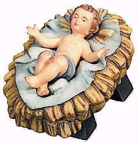 Immagine di Gesù Bambino con Culla separata cm 12 (4,7 inch) Presepe Raffaello stile classico colori ad olio in legno Val Gardena