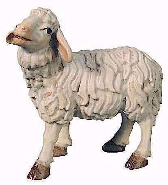 Imagen de Oveja de pie cm 12 (4,7 inch) Belén Raffaello estilo clásico colores al óleo en madera Val Gardena