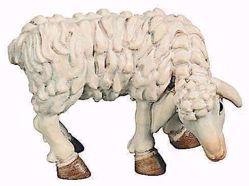 Immagine di Pecora che mangia cm 12 (4,7 inch) Presepe Raffaello stile classico colori ad olio in legno Val Gardena