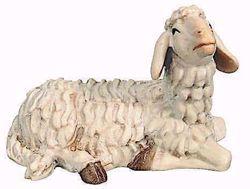 Immagine di Pecora Sdraiata cm 12 (4,7 inch) Presepe Raffaello stile classico colori ad olio in legno Val Gardena