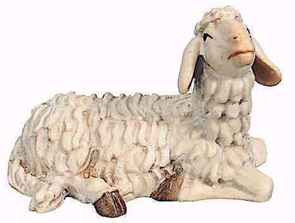 Picture of Lying Sheep cm 12 (4,7 inch) Raffaello Nativity Scene traditional style oil colours Val Gardena wood