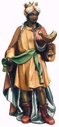 Imagen de Baltasar Rey Mago Negro cm 12 (4,7 inch) Belén Raffaello estilo clásico colores al óleo en madera Val Gardena