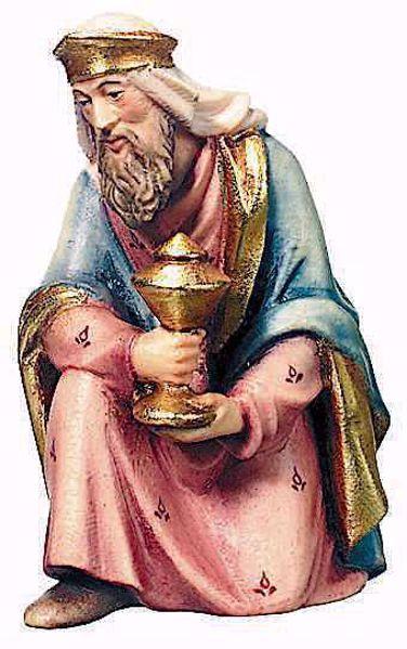 Immagine di Melchiorre Re Magio in ginocchio cm 12 (4,7 inch) Presepe Raffaello stile classico colori ad olio in legno Val Gardena