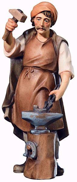 Imagen de Herrero cm 12 (4,7 inch) Belén Raffaello estilo clásico colores al óleo en madera Val Gardena