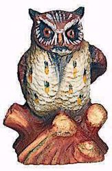 Imagen de Búho cm 15 (5,9 inch) Belén Raffaello estilo clásico colores al óleo en madera Val Gardena