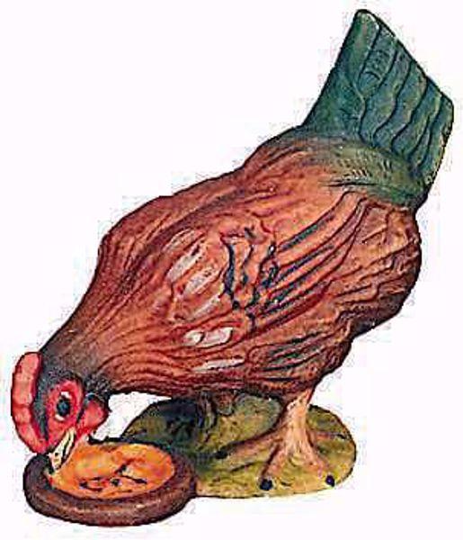 Imagen de Gallina cm 15 (5,9 inch) Belén Raffaello estilo clásico colores al óleo en madera Val Gardena