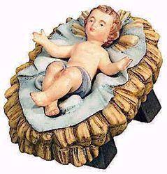 Immagine di Gesù Bambino con Culla separata cm 15 (5,9 inch) Presepe Raffaello stile classico colori ad olio in legno Val Gardena