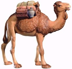 Imagen de Camello con Silla cm 8 (3,1 inch) Belén Leonardo estilo tradicional árabe colores al óleo en madera Val Gardena