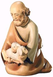 Imagen de Pastor arrodillado con Ovejas cm 8 (3,1 inch) Belén Leonardo estilo tradicional árabe colores al óleo en madera Val Gardena