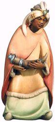 Imagen de Baltasar Rey Mago Negro cm 8 (3,1 inch) Belén Leonardo estilo tradicional árabe colores al óleo en madera Val Gardena