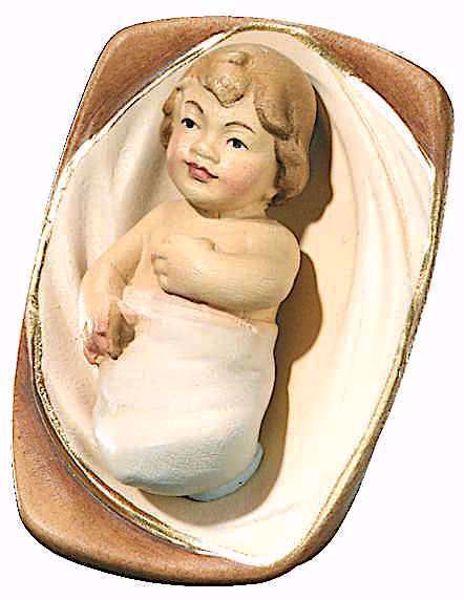 Immagine di Gesù Bambino con Culla cm 10 (3,9 inch) Presepe Leonardo stile arabo tradizionale colori ad olio in legno Val Gardena