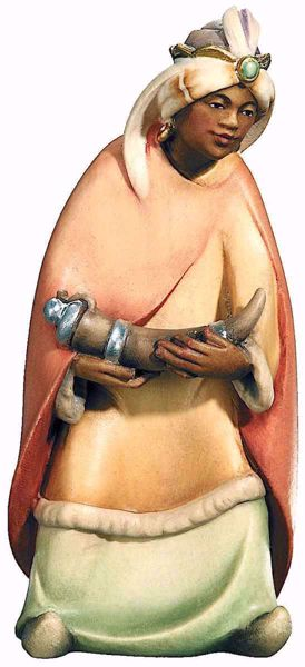Immagine di Baldassarre Re Magio Moro cm 10 (3,9 inch) Presepe Leonardo stile arabo tradizionale colori ad olio in legno Val Gardena