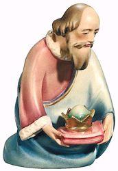 Imagen de Melchor Rey Mago arrodillado cm 10 (3,9 inch) Belén Leonardo estilo tradicional árabe colores al óleo en madera Val Gardena
