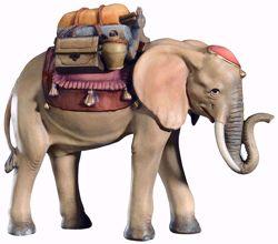 Imagen de Elefante con Silla cm 12 (4,7 inch) Belén Leonardo estilo tradicional árabe colores al óleo en madera Val Gardena