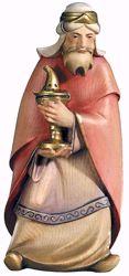 Imagen de Gaspar Rey Mago Blanco cm 12 (4,7 inch) Belén Leonardo estilo tradicional árabe colores al óleo en madera Val Gardena