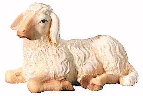 Picture of Lying Sheep cm 16 (6,3 inch) Leonardo Nativity Scene traditional Arabic style oil colours Val Gardena wood