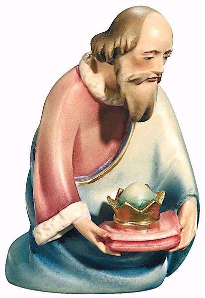 Immagine di Melchiorre Re Magio in ginocchio cm 16 (6,3 inch) Presepe Leonardo stile arabo tradizionale colori ad olio in legno Val Gardena