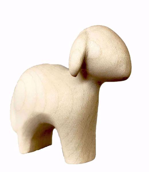 Imagen de Oveja de pie cm 8 (3,1 inch) Belén Stella estilo moderno color natural en madera Val Gardena