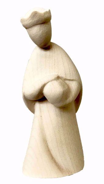 Immagine di Melchiorre Re Magio in ginocchio cm 8 (3,1 inch) Presepe Stella stile moderno colore naturale in legno Val Gardena