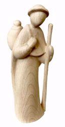 Imagen de Pastor con Bastón cm 10 (3,9 inch) Belén Stella estilo moderno color natural en madera Val Gardena