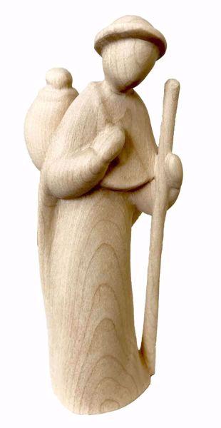 Immagine di Pastore con Bastone cm 10 (3,9 inch) Presepe Stella stile moderno colore naturale in legno Val Gardena
