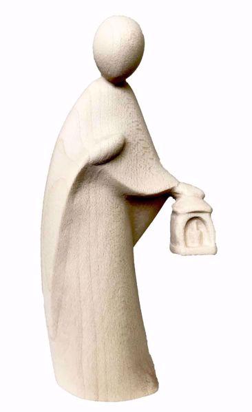 Immagine di San Giuseppe cm 12 (4,7 inch) Presepe Stella stile moderno colore naturale in legno Val Gardena