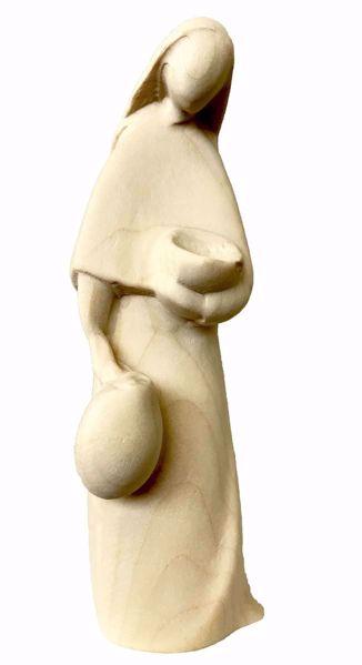 Immagine di Pastorella con Anfora cm 12 (4,7 inch) Presepe Stella stile moderno colore naturale in legno Val Gardena