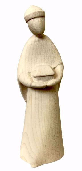 Imagen de Baltasar Rey Mago Negro cm 12 (4,7 inch) Belén Stella estilo moderno color natural en madera Val Gardena