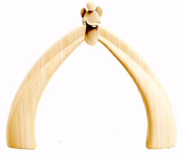 Immagine di Capanna con Angelo cm 16 (6,3 inch) Presepe Stella stile moderno colore naturale in legno Val Gardena