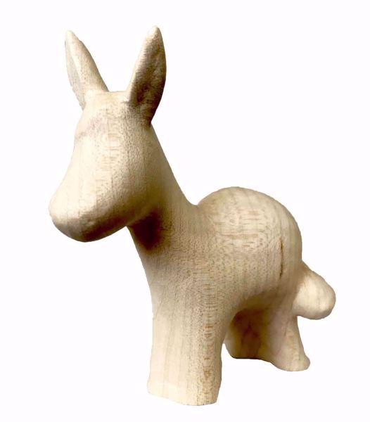 Immagine di Asino cm 16 (6,3 inch) Presepe Stella stile moderno colore naturale in legno Val Gardena