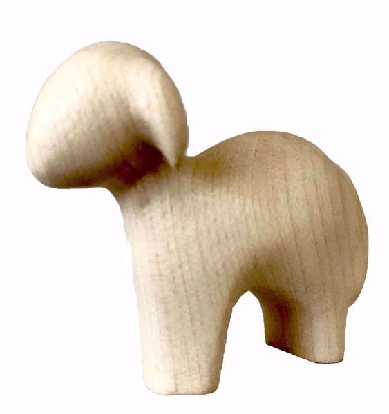 Imagen de Oveja de pie cm 16 (6,3 inch) Belén Stella estilo moderno color natural en madera Val Gardena