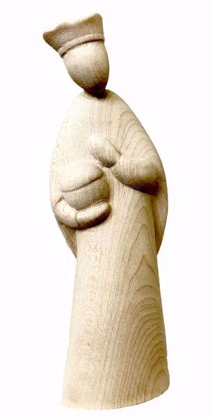 Imagen de Gaspar Rey Mago Blanco cm 14 (5,5 inch) Belén Stella estilo moderno color natural en madera Val Gardena