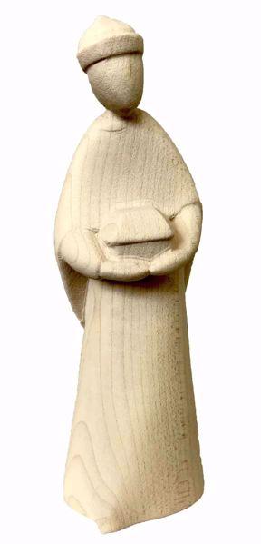 Immagine di Baldassarre Re Magio Moro cm 14 (5,5 inch) Presepe Stella stile moderno colore naturale in legno Val Gardena