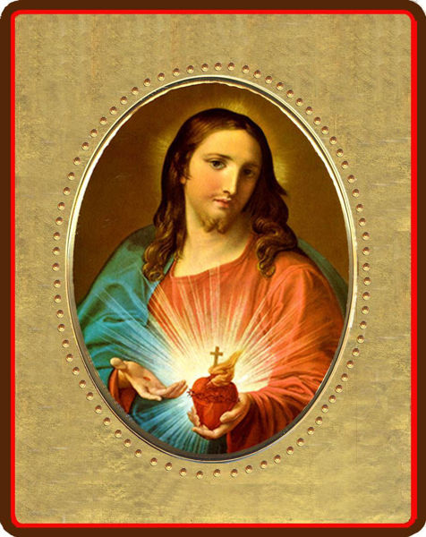 Picture of Sacred Heart of Jesus Porcelain Icon on golden board cm 15x20x2,5 (5,9x7,8x1 inch) for table and wall