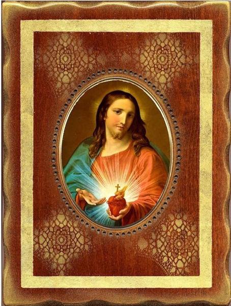 Immagine di Sacro Cuore di Gesù Icona in Porcellana su tavola dorata cm 18x24x2,5 (7x9,4x1,0 inch) da muro e da tavolo