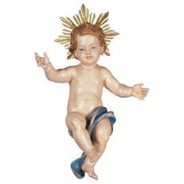 Imagen de Niño Jesús con Aureola de Rayos cm 110 (43,3 inch) Belén Ulrich pintado a mano Estatua artesanal de madera Val Gardena estilo barroco